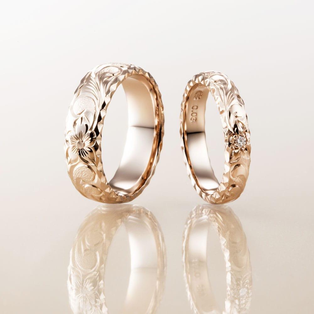 マカナ結婚指輪のK18イエローゴールドバレルタイプ6mm幅と4mm幅