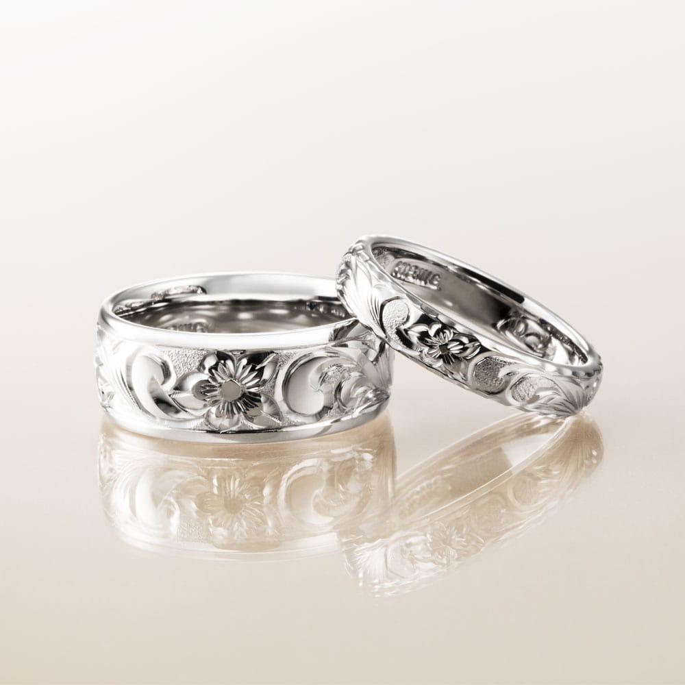 マカナ結婚指輪のK18ホワイトゴールドバレルタイプ8mm幅と4mm幅