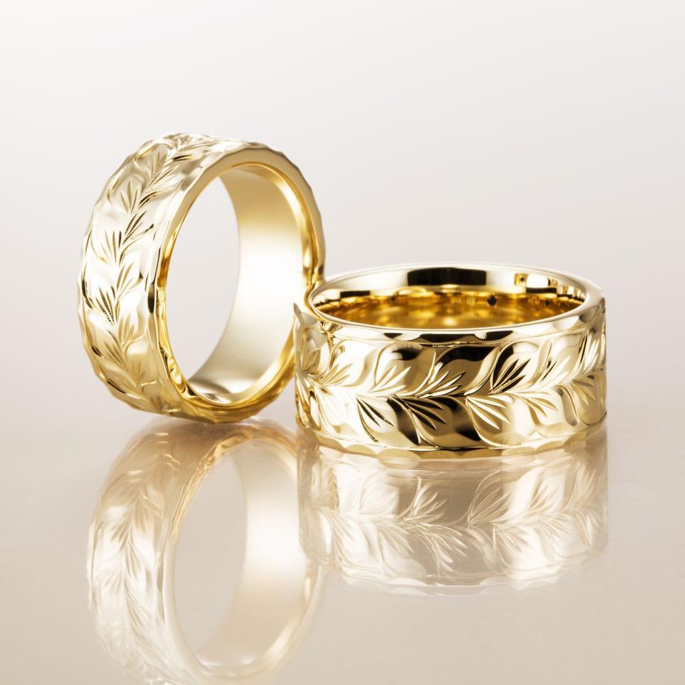 マカナ結婚指輪のK18イエローゴールドフラットタイプの7mm幅と9mm幅