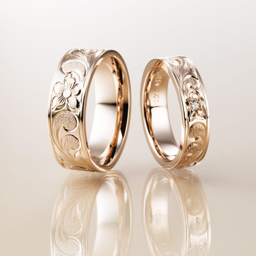 マカナ結婚指輪のK18ピンクゴールドフラットタイプの7mm幅と5mm幅