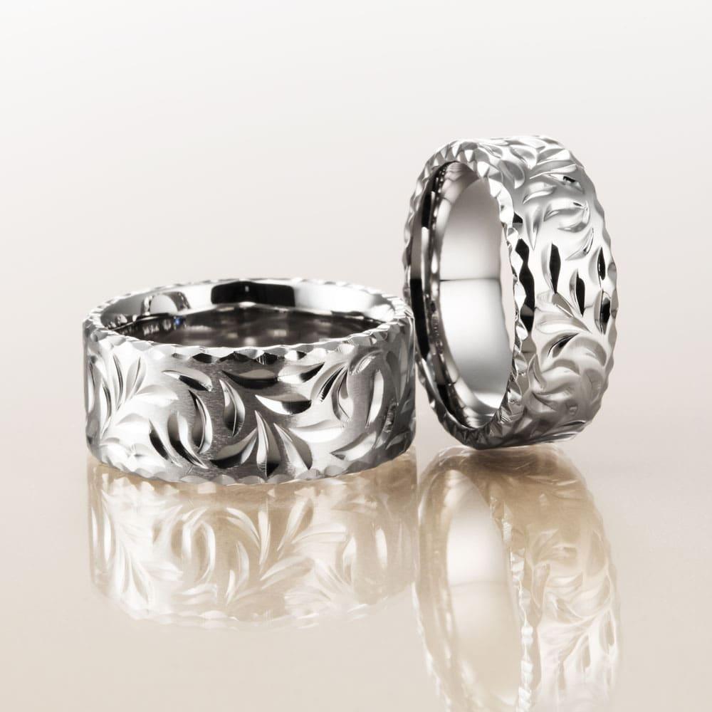 マカナ結婚指輪のK18ホワイトゴールドフラットタイプの9mm幅と7mm幅