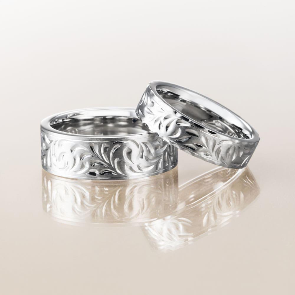 マカナ結婚指輪のプラチナ900フラットタイプの7mm幅と5mm幅