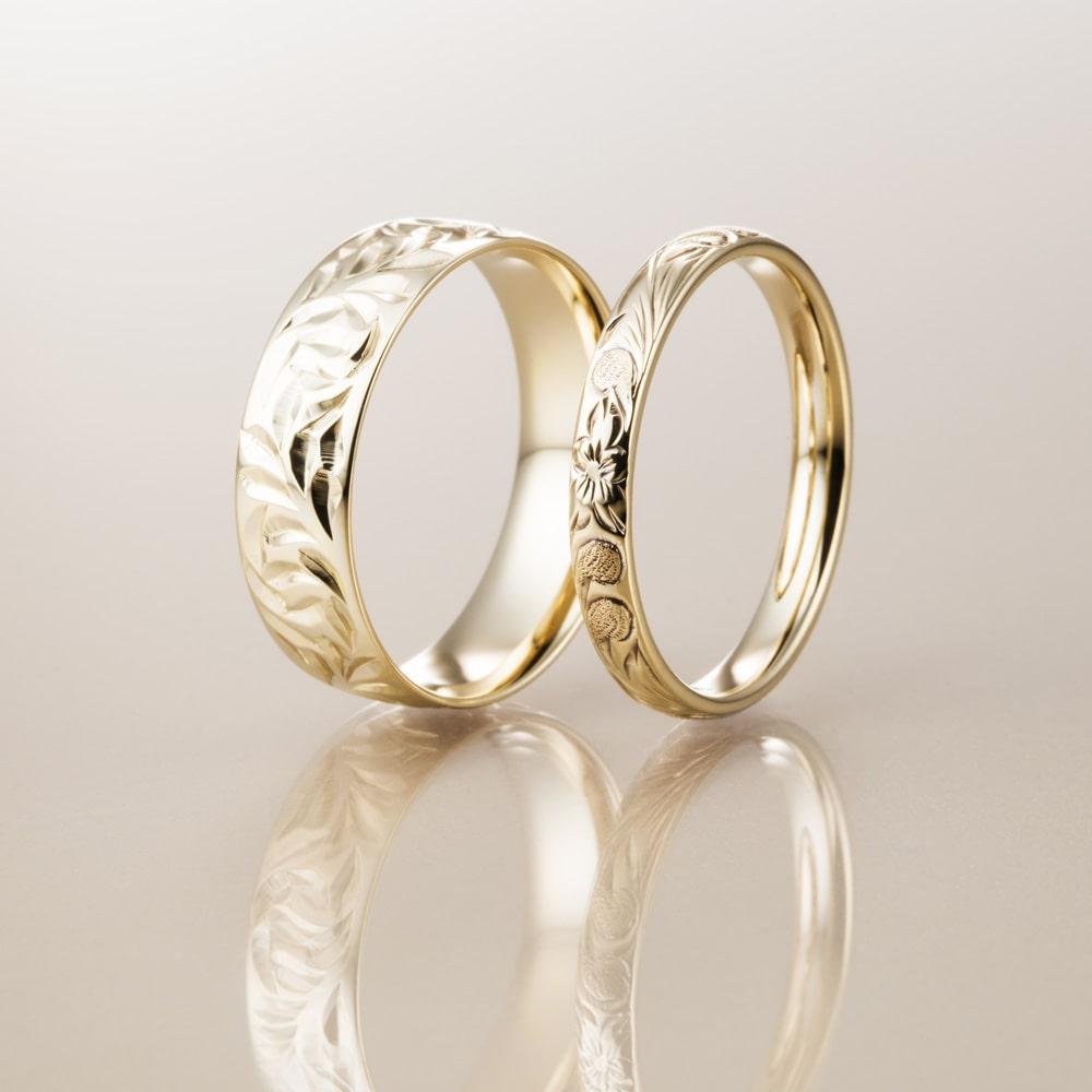 マカナ結婚指輪のK14イエローゴールドバレルタイプ
