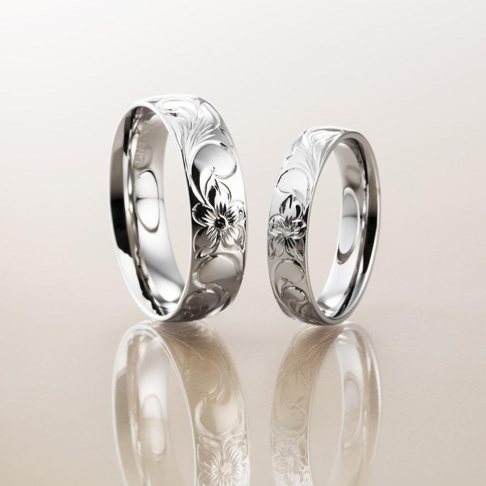 マカナ結婚指輪のK14ホワイトゴールドバレルタイプ