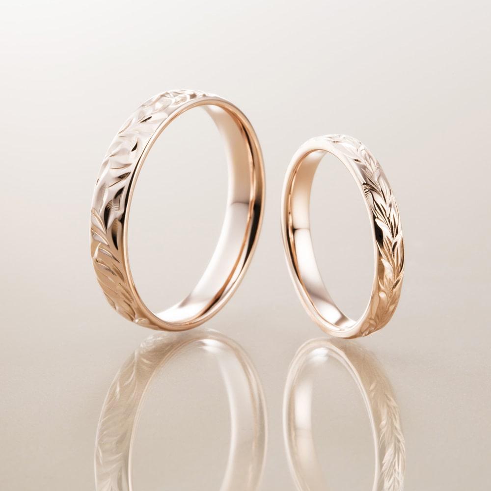 マカナ結婚指輪のK14ピンクゴールドバレルタイプ