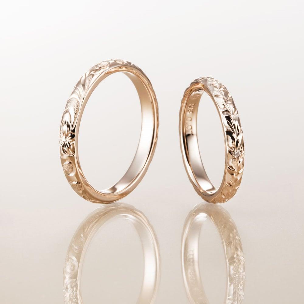 ハワイアンジュエリー結婚指輪のマカナのK18ピンクゴールド2.8㎜バレルリング
