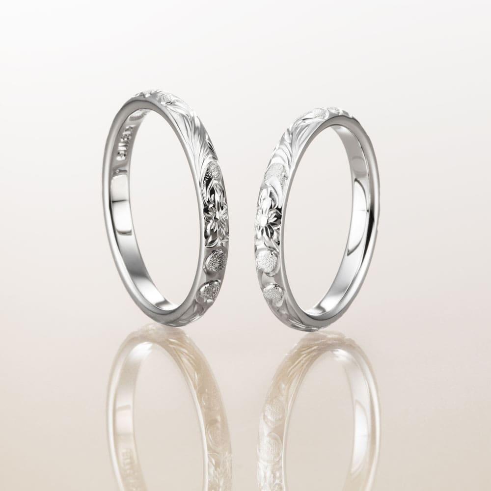 ハワイアンジュエリー結婚指輪のマカナのK18ホワイトゴールド2.8㎜バレルリング