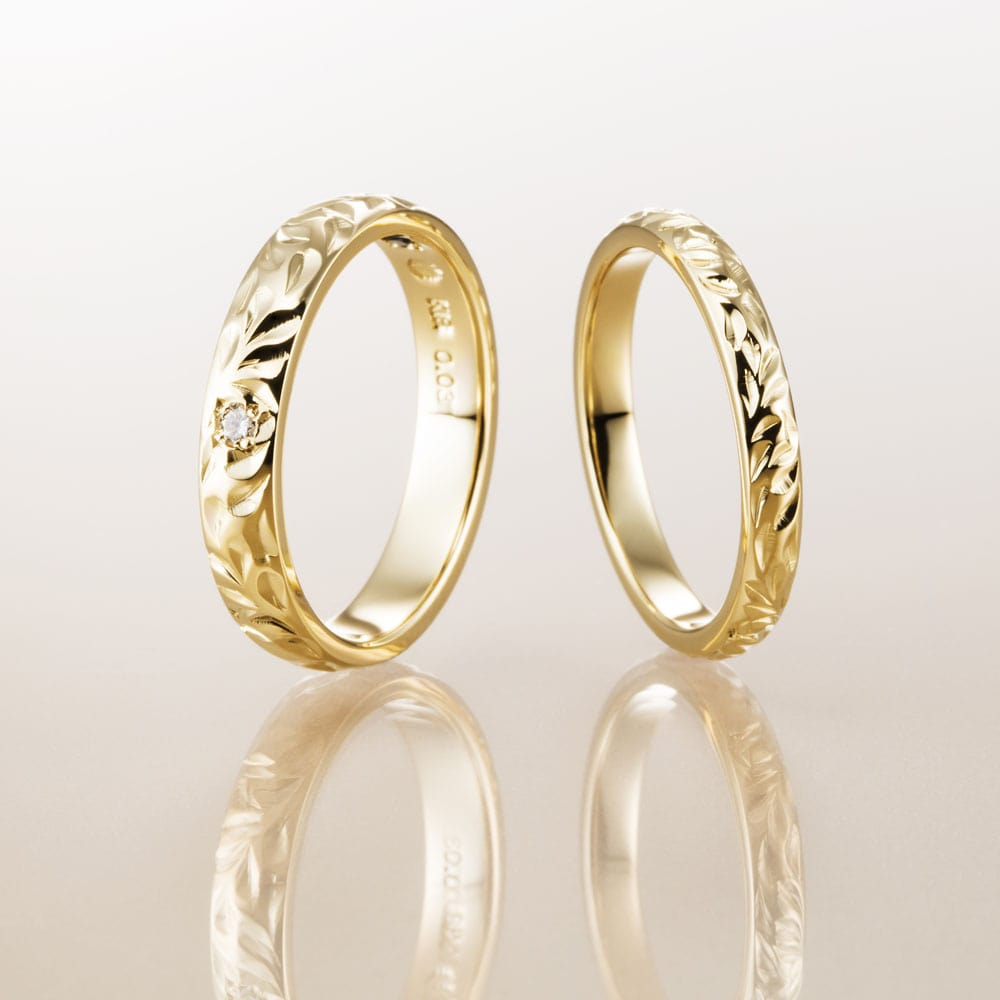 ハワイアンジュエリー結婚指輪のマカナのK18イエローゴールドの2.8㎜バレルリング