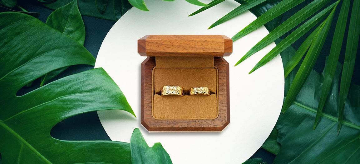 ハワイアンジュエリーマカナはウォールナットの箱